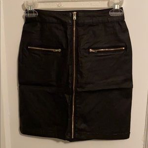 Misguided Black Faux Leather Zip Front Skirt